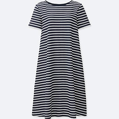 WOMEN JACQUARD STRIPED DRESS, NAVY, medium