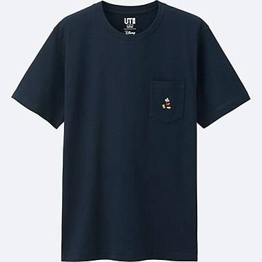 MEN MICKEY STANDS SHORT SLEEVE POCKET T-SHIRT, NAVY, medium