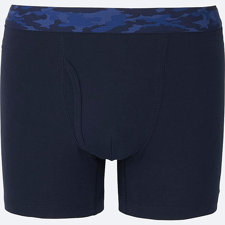 MEN Supima® COTTON BOXER BRIEFS, NAVY, large