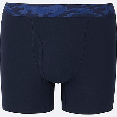 MEN SUPIMA COTTON BOXER BRIEFS, NAVY, medium