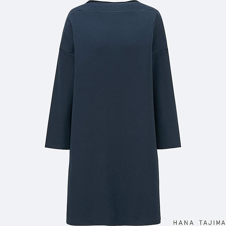 WOMEN COTTON MODAL BOAT NECK LONG-SLEEVE TUNIC, NAVY, large