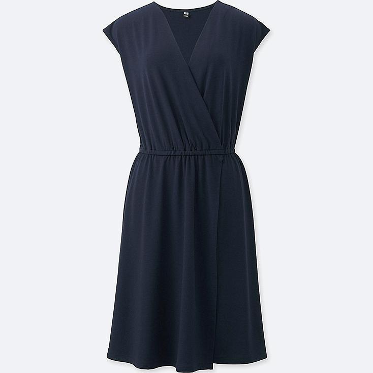 WOMEN JERSEY WRAP FRONT SLEEVELESS DRESS, NAVY, large
