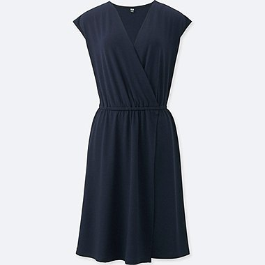 WOMEN JERSEY WRAP FRONT SLEEVELESS DRESS, NAVY, medium