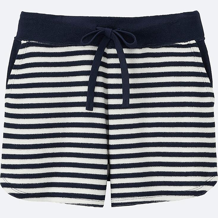 WOMEN AIRism PILE LINED LOUNGE SHORTS (STRIPE), NAVY, large