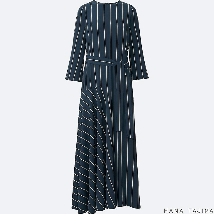 WOMEN HANA TAJIMA STRIPED FLARE LONG SLEEVE LONG DRESS