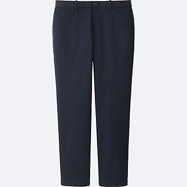 MEN RELAXED SMART STYLE ANKLE PANTS (COTTON), NAVY, medium