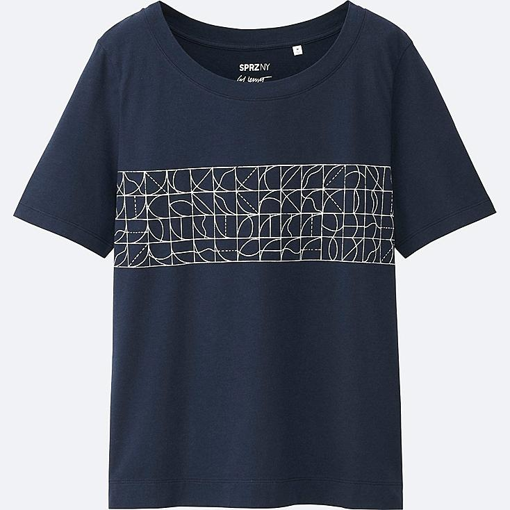WOMEN SPRZ NY Super Geometric GRAPHIC T-SHIRT (SOL LEWITT), NAVY, large