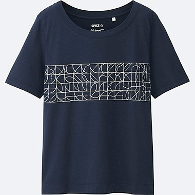WOMEN SPRZ NY Super Geometric GRAPHIC T-SHIRT (SOL LEWITT), NAVY, medium