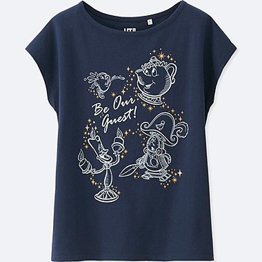 WOMEN Disney Beauty and the Beast SHORT SLEEVE GRAPHIC T-SHIRT, NAVY, medium