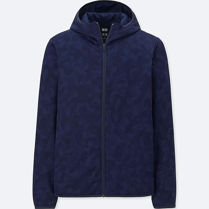 MEN DRY-EX LONG-SLEEVE FULL-ZIP HOODIE, NAVY, large