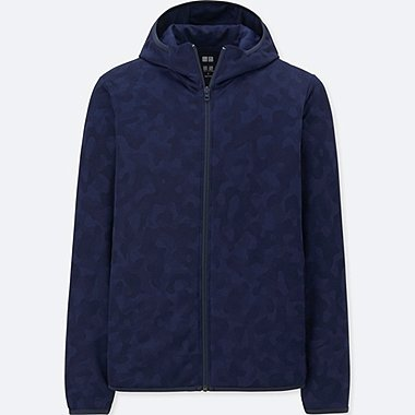 MEN DRY-EX LONG-SLEEVE FULL-ZIP HOODIE, NAVY, medium