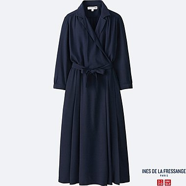 WOMEN IDLF RAYON WRAP FRONT DRESS, NAVY, medium