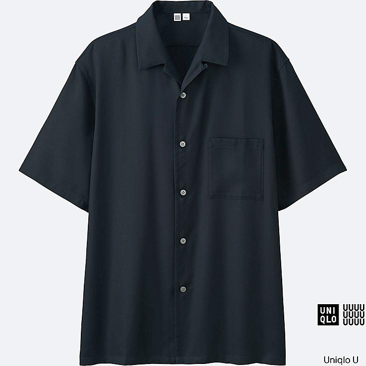MEN U OPEN COLLAR SHORT-SLEEVE SHIRT, NAVY, large