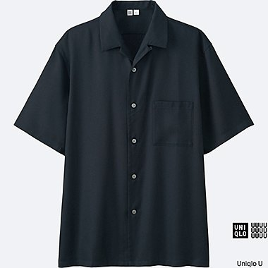 MEN U OPEN COLLAR SHORT-SLEEVE SHIRT, NAVY, medium