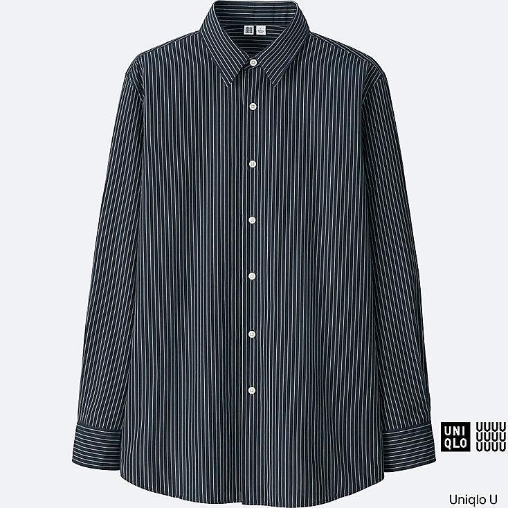 MEN U EXTRA FINE COTTON BROADCLOTH STRIPED LONG-SLEEVE SHIRT, NAVY, large