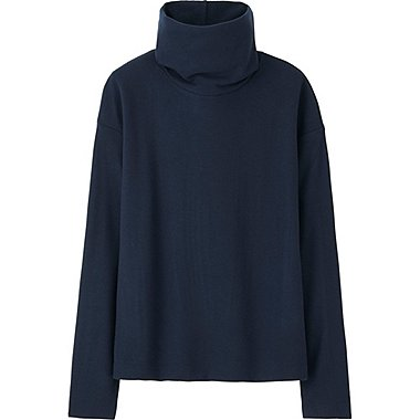 WOMEN HEATTECH FLEECE OFF TURTLENECK LONG-SLEEVE T-SHIRT, NAVY, medium