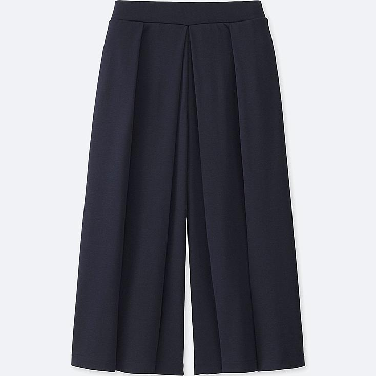 WOMEN JERSEY CROPPED FLARE WIDE PANTS, NAVY, large