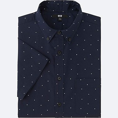 MEN BROADCLOTH PRINTED SHORT SLEEVE SHIRT, NAVY, medium