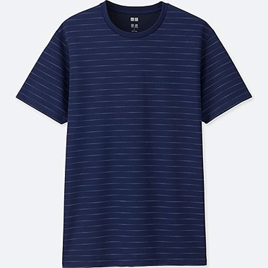 MEN DRY-EX SHORT-SLEEVE CREWNECK T-SHIRT, NAVY, medium
