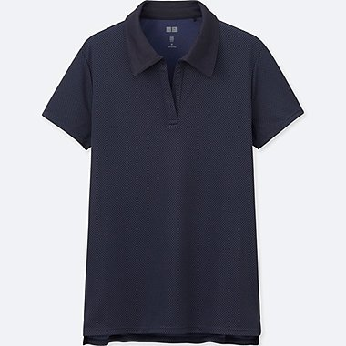 WOMEN DRY-EX PRINTED POLO SHIRT, NAVY, medium