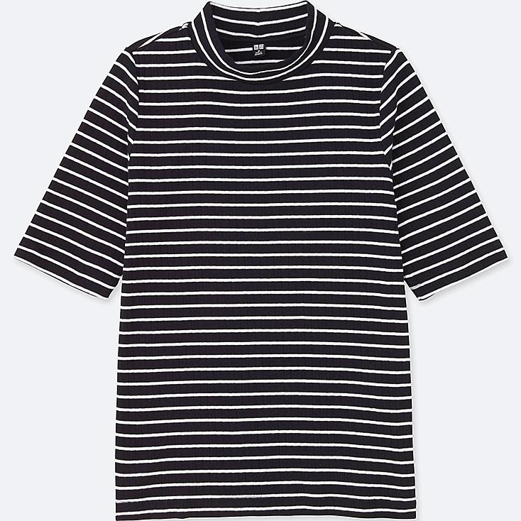 WOMEN STRIPED RIBBED HIGH NECK HALF-SLEEVE T, NAVY, large