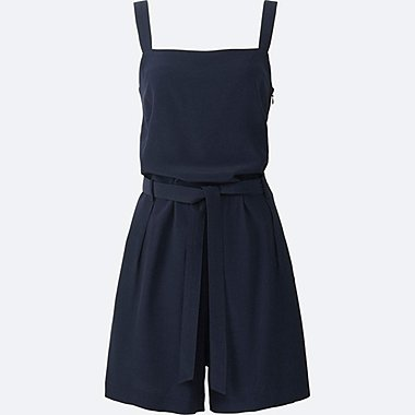 WOMEN Silk Touch Waist Tie Apron Playsuit