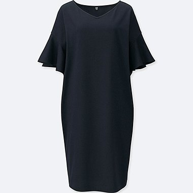 WOMEN JERSEY FLARE SLEEVE DRESS