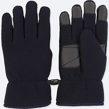 MEN HEATTECH-LINED FLEECE GLOVES, NAVY, medium