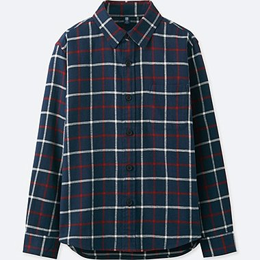 BOYS FLANNEL CHECK LONG-SLEEVE SHIRT, NAVY, medium