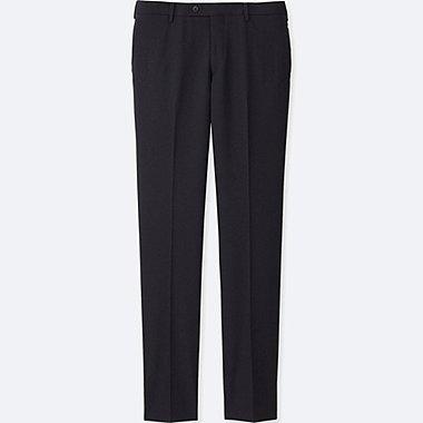 MEN STRETCH SLIM-FIT WOOL FLAT-FRONT PANTS, NAVY, medium