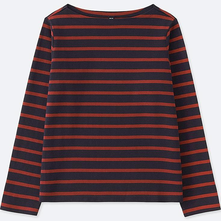 WOMEN STRIPED BOAT NECK LONG-SLEEVE T-SHIRT | UNIQLO US