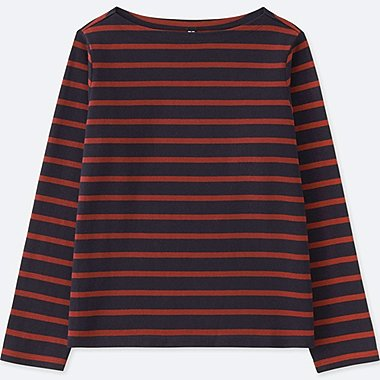 WOMEN STRIPED BOAT NECK LONG-SLEEVE T-SHIRT, NAVY, medium