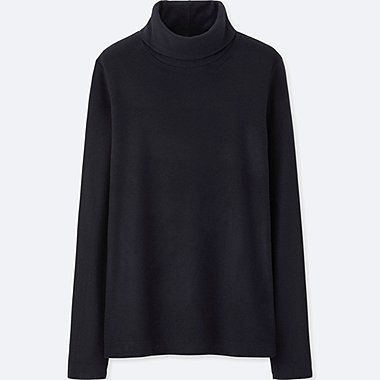 WOMEN HEATTECH FLEECE TURTLE NECK LONG SLEEVE T-SHIRT