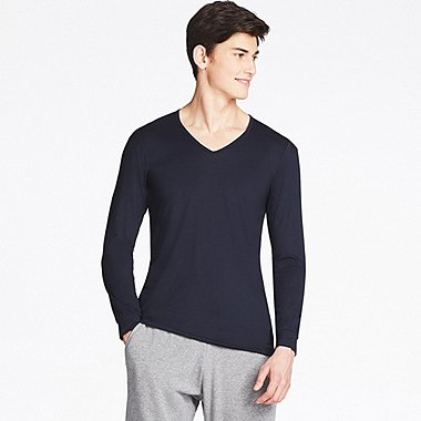MEN HEATTECH V NECK LONG SLEEVE T-SHIRT
