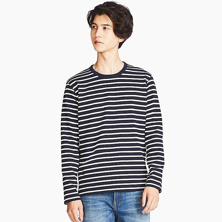 MEN WASHED STRIPED CREW NECK T-SHIRT, NAVY, large