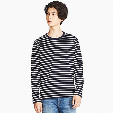 MEN WASHED STRIPED CREW NECK T-SHIRT, NAVY, medium
