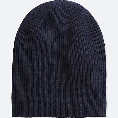 CASHMERE KNITTED BEANIE, NAVY, medium