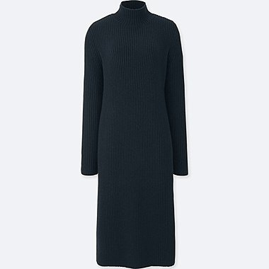 WOMEN LAMBSWOOL BLEND LONG-SLEEVE DRESS, NAVY, medium