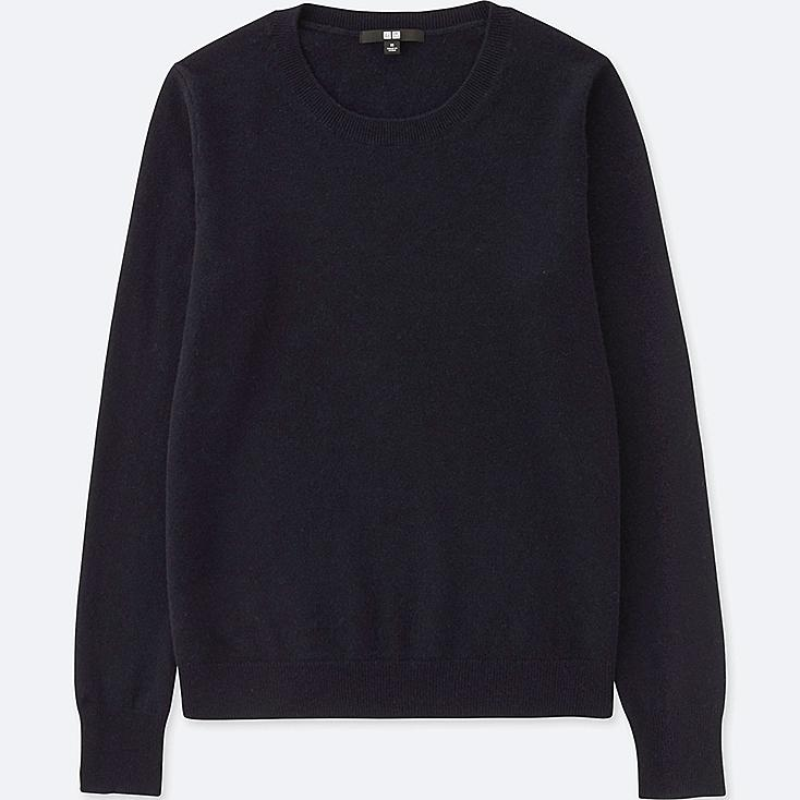 WOMEN CASHMERE CREW NECK SWEATER, NAVY, large
