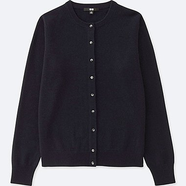 WOMEN CASHMERE CREW NECK CARDIGAN (ONLINE EXCLUSIVE), NAVY, medium