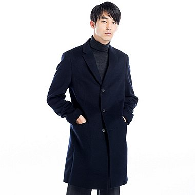 MEN WOOL CASHMERE CHESTERFIELD COAT, NAVY, medium