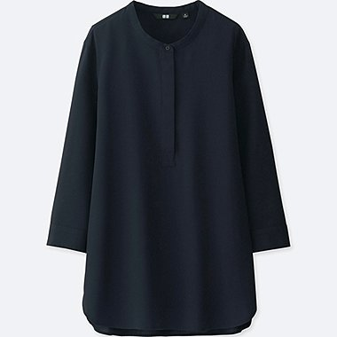 WOMEN RAYON STAND COLLAR 3/4 SLEEVE BLOUSE, NAVY, medium