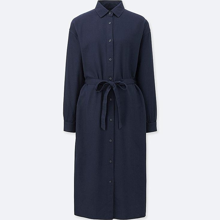 WOMEN FLANNEL LONG-SLEEVE SHIRT DRESS, NAVY, large