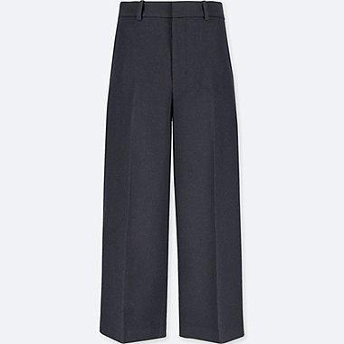 WOMEN WOOL BLENDED WIDE LEG ANKLE LENGTH TROUSERS