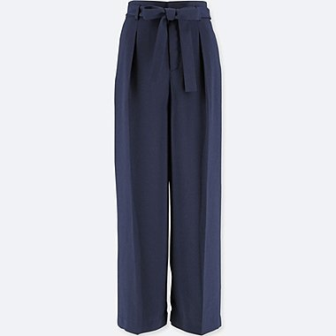 WOMEN HIGH-WAIST RIBBON WIDE LEG PANTS, NAVY, medium