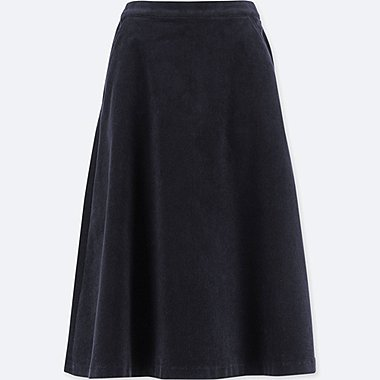 WOMEN HIGH WAIST CORDUROY FLARED MIDI SKIRT