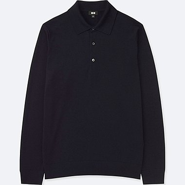 MEN EXTRA FINE MERINO KNIT LONG SLEEVED POLO SHIRT