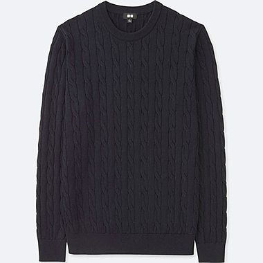 MEN COTTON CASHMERE CABLE CREW NECK SWEATER, NAVY, medium