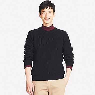 MEN RIBBED CREW NECK LONG-SLEEVE SWEATER, NAVY, medium