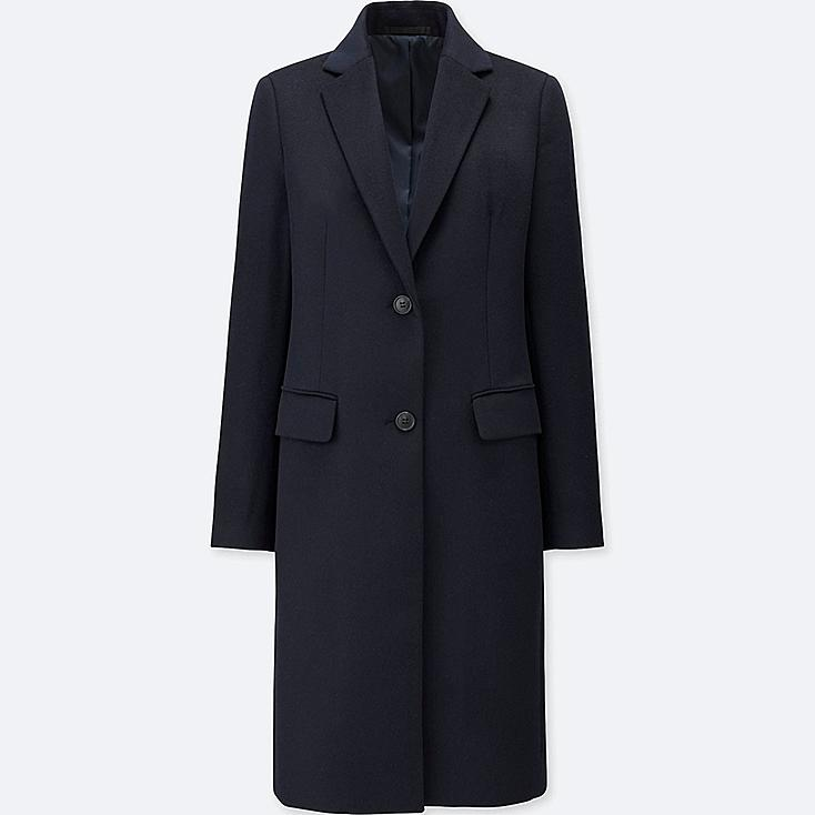 WOMEN WOOL CASHMERE CHESTER COAT, NAVY, large
